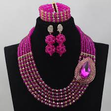 gold crystal beaded necklace images Lovely pink and gold crystal rows necklace set fushia beads jpg