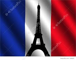 Frebch Flag Illustration Of Eiffel Tower With French Flag