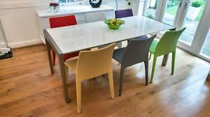 White Dining Table And Coloured Chairs Modern White Gloss Extending Dining Table And Bright Coloured