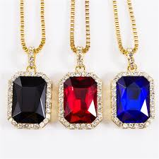 long red pendant necklace images Nyuk pendants necklaces geometric necklace bling iced out red cz jpg