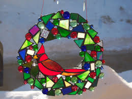 scrap wreath with jewels and cardinal stained glass christmas