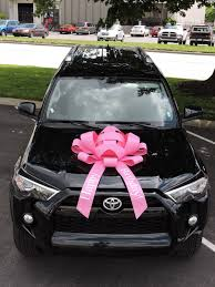 pink happy birthday car bow magnetic vinyl no scratch pink