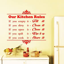 kitchen styling vinyl kitchen wall art decal with pans and stove kitchen fascinating red lettering our kitchen rules kitchen wall art large size wall art