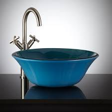 azure blue flared glass vessel sink bathroom