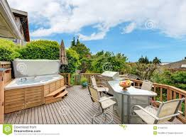 walkout deck with patio area and jacuzzi stock photo image 41340793