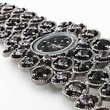 black bracelet women images Women 39 s black bracelet watch with black czechic diamond decoration jpg