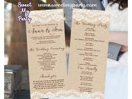 wedding programs rustic rustic wedding program lace burlap wedding program country wedding