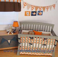 Gray Chevron Crib Bedding Baby Nursery Decor Orange Chevron Crib Baby Boy Owl Nursery