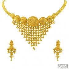 necklace sets designs images 22k choker filigree necklace set ajns55511 22k gold designer jpg
