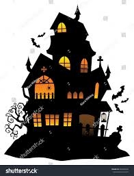haunted house silhouette theme image 1 stock vector 462329632