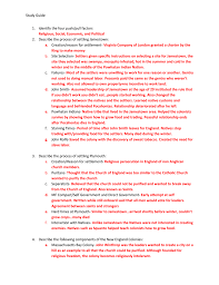 study guide nam identify the four push pull factors religious social