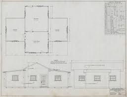 4 room house calisphere plan and elevations of 4 room house for logging dept