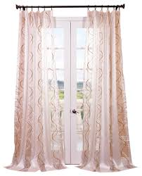 Sheer Embroidered Curtains Camille Taupe Gold Embroidered Sheer Curtain Single Panel
