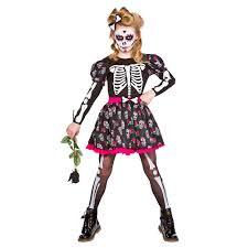 child skull of the dead sugar day halloween girls fancy dress