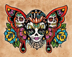 sugar skull butterfly pencil and in color sugar
