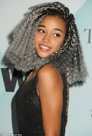 hunger games star amandla stenberg 16 shows off her edgy grey