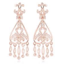 gold chandelier earrings 14k gold diamond chandelier earrings for women 0 37ct