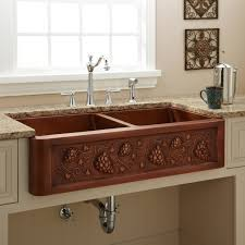 Kitchen Faucets For Farm Sinks Kitchen Beautiful Copper Kitchen Sink Undermount With Brown