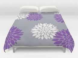 Duvet Cover Lavender Grey Purple Duvet Floral Duvet Cover Modern Bed Cover King