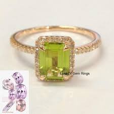 peridot engagement rings 368 emerald cut peridot engagement ring pave diamond wedding 14k