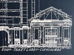 blueprint art print detroit train station by cyberoptix