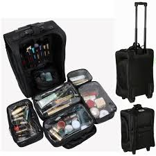 professional makeup artist organizer rolling makeup soft sided carry on storage travel luggage