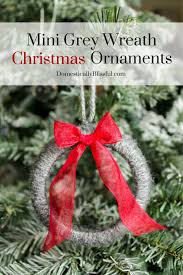 create these adorable mini grey wreath christmas ornaments from soft yarn for your christmas tree this year png