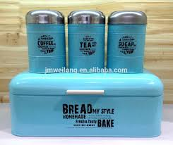 fda metal bread bin and 3 canister set with stainless steel lid