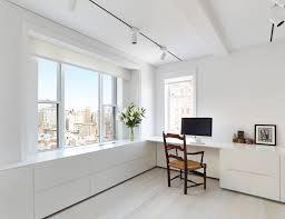 living room white minimalist office desk home design concept