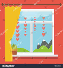 vector illustration window view mountains blind stock vector