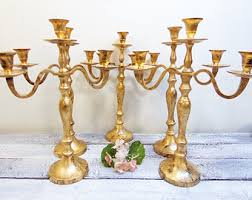 Vintage Bohemian Lead Crystal Candle Holder For Three Candles Wedding Candles U0026 Holders Etsy