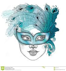 dotted face in venetian carnival mask colombina with outline