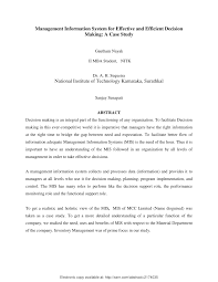 how to write a good abstract for a research paper management information system for effective and efficient decision management information system for effective and efficient decision making a case study pdf download available