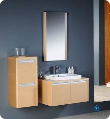 fresca mirano light oak modern bathroom vanity with a matching