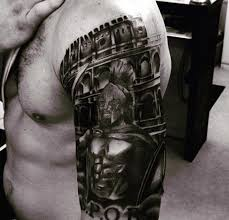 shoulder placed black and white of spartan warrior and rome