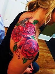 cliserpudo black and red rose tattoo shoulder images