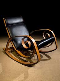 leather and chrome rocking chair by milo baughman from a unique