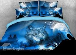 Wolf Bedding Set Onlwe 3d Wolf And Scenery Printed 4 Bedding