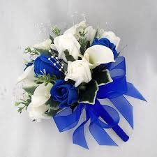 wedding flowers royal blue flowers bouquets bridesmaids posy cala lilies royal blue