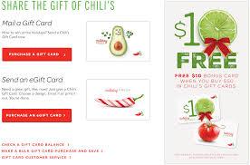 free bonus 10 chili s gift card wyb 50 worth of gift cards