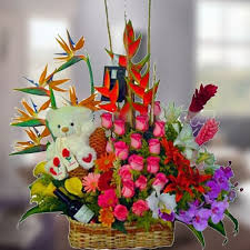 beautiful floral arrangement of exotic flowers including bird of