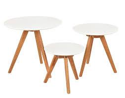 Couchtisch Weiss Design Ideen 3er Set Design Beistelltische Rund Eiche Weiß Kaffeetisch