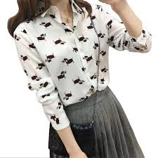 print blouses 2018 dogs print blouses turn collar
