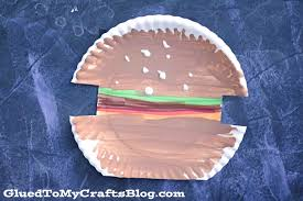paper plate hamburger kid craft glued to my crafts