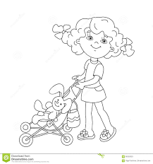 and stroller coloring stock image image 36130251