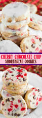 glazed cherry chocolate chip shortbread cookies back for seconds