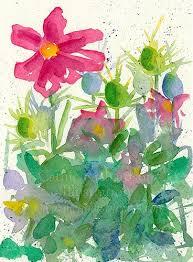 a pretty flower garden vignette original watercolor painting of