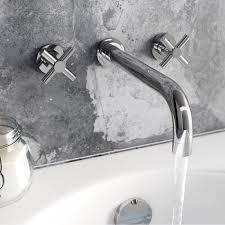 enki cross head designer wall mount bath filler tap basin mixer