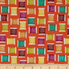michael miller love to sew cool spools orange discount designer