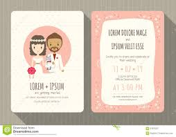Wedding Invitation Card Free Download Wedding Invitation Card With Cute Groom And Bride Cartoon Stock